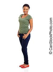 afroamerikanisch, posierend, junges mädchen
