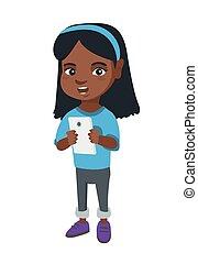 afroamerikanisches mädchen, gebrauchend, a, smartphone.