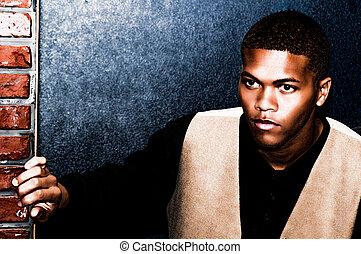 afroamerikansk, ung man