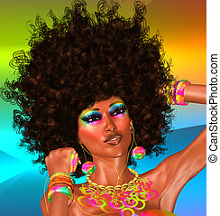 Afro,Beautiful Face,Woman - African Beauty with colorful...