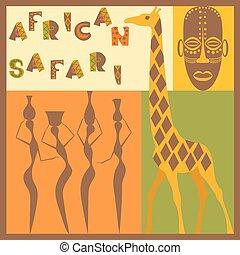 afrocan, etnisk, illustration