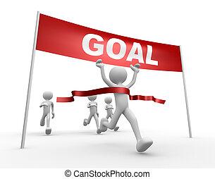 afrundetheden, mål, linje., folk, -, mand person, 3