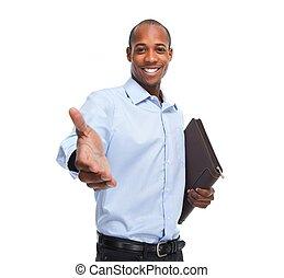 afrykańska-amerikanka, biznesmen, handshake.