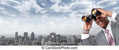 afrykańska-amerikanka, biznesmen, z, binoculars.