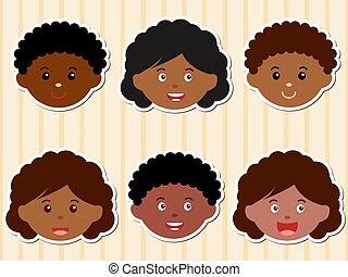 afrykańska-amerikanka, głowy, girls/boy