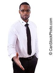afrykańska amerikanka, handlowiec, dając rękę, -, czarnoskóry, ludzie