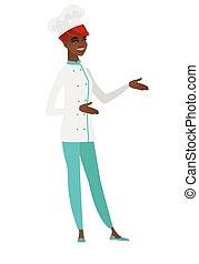 afrykańska-amerikanka, młody kuchmistrz, kok, gesturing., szczęśliwy