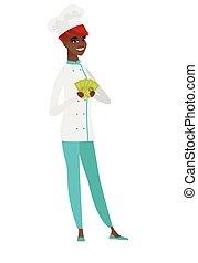 afrykańska-amerikanka, pieniądze., mistrz kucharski, dzierżawa, kok, szczęśliwy
