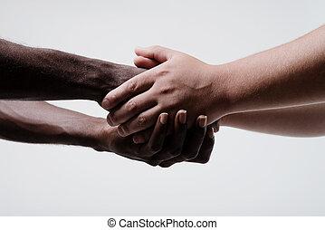 afrykańska amerikanka, siła robocza, biznesmen, potrząsanie, kaukaski