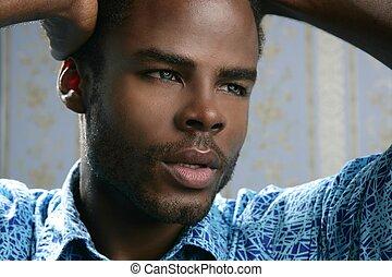 afrykańska amerikanka, sprytny, czarny młodzian, portret