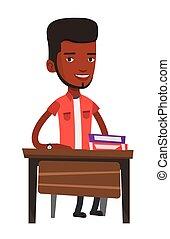 afrykańska-amerikanka, student, posiedzenie, na, przedimek określony przed rzeczownikami, desk.