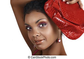 afrykańska kobieta, z, różowy, eyeshadows