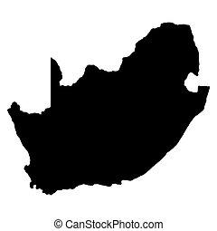 afryka, mapa, sylwetka, wektor, południe