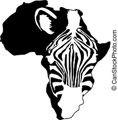 afryka, sylwetka, zebra