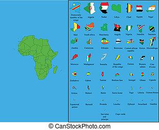 afryka, z, wszystko, bandery