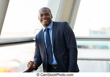 afrykanin, biznesmen, w, nowoczesny, biuro