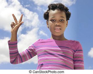 afrykanin, dziecko, pokaz, liczba 3