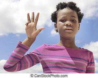 afrykanin, dziecko, pokaz, liczba 4