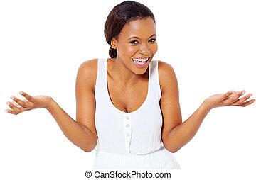 afrykanin, dziewczyna, śmiech