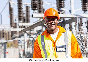 afrykanin, elektryczny, młody, inżynier
