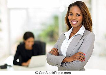 afrykanin, handlowa kobieta, w, biuro