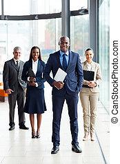 afrykanin, handlowy, lider, i, drużyna