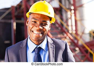 afrykanin, inżynier, na, przemysłowe umieszczenie