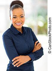 afrykanin, kobieta interesu, w, biuro
