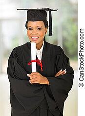 afrykanin, kolegium, młody, samica, absolwent