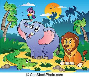afrykanin, krajobraz, z, zwierzęta, 4