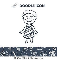 afrykanin, ludzie, doodle
