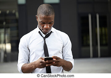 afrykanin, młody, telefon, amerykanka, używając, biznesmen, mądry