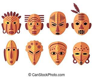 afrykanin, maska, ikony