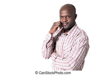 afrykanin, odizolowany, patrząc, tło., portret, biznesmen, uśmiechanie się, biały, szczęśliwy