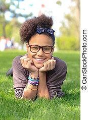 afrykanin, park, amerykanka, czarne dziecko, dziewczyna