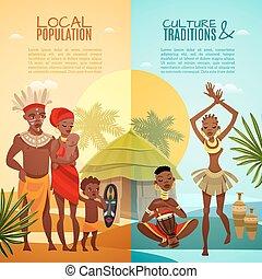 afrykanin, plemienny, życie, pionowy, płaski, chorągwie