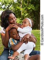 afrykanin, rodzina, szczęśliwy