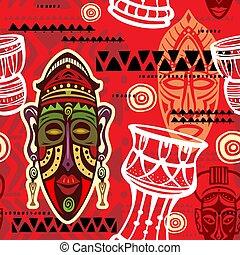 afrykanin, seamless, tło modelują, motywy, etniczny