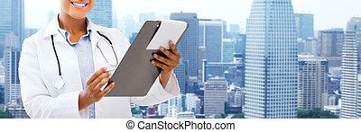 afrykanin, szczęśliwy, clipboard, samiczy doktor