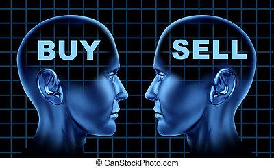 afsætte, symbol, køb, handlende