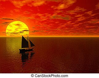 afsejlingen, into, den, solnedgang