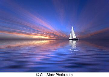 afsejlingen, og, solnedgang