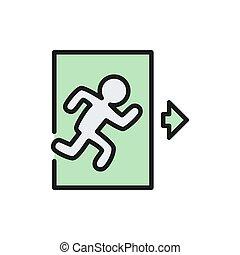 afslaf, man, icon., meldingsbord, plat, noodgeval, uit, lijn, kleur, rennende