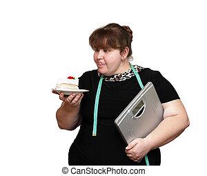 afslanken, overgewicht, vrouwen, met, taart