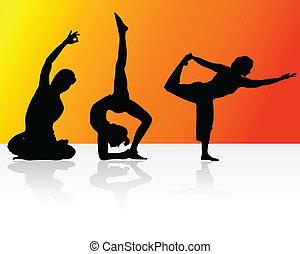 afslappelse, hos, yoga