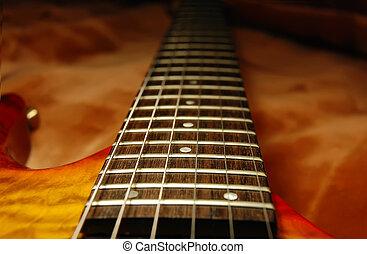 afsluiten, aanzicht, op, gitaar, fretboard