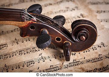 afsluiten, aanzicht, oud, boekrol, viool