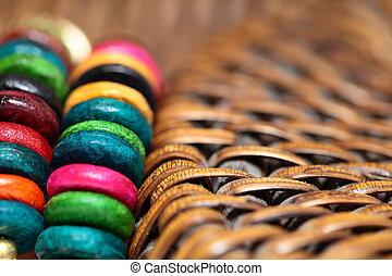 afsluiten, armband, op, kleurrijke, aanzicht