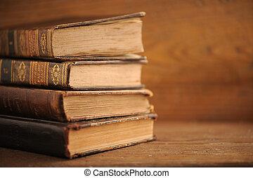 afsluiten, boek, oud, op