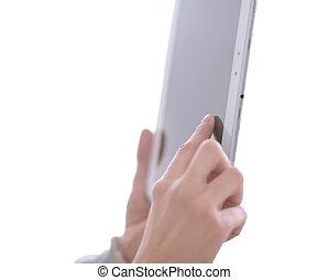afsluiten, boven., digitaal tablet, in, de, handen, van, een, vrouw, .photo, met, de ruimte van het exemplaar